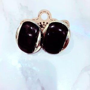 Black and Gold Tone Vintage Earrings